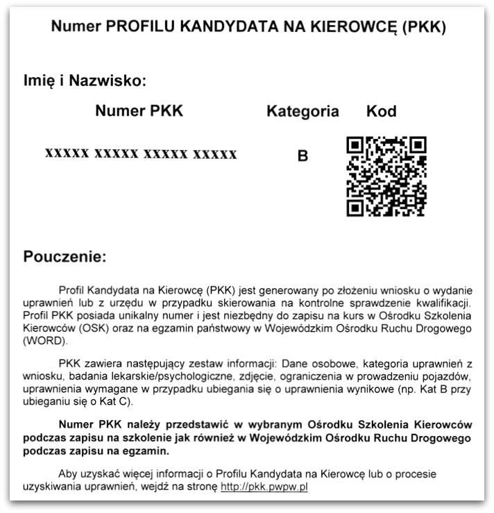 Wzór wydruku PKK jaki otrzymasz odurzędnika
